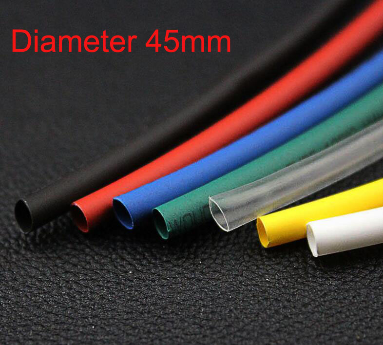 Black/Red/Yellow/White/Clear/Greed/Blue 45mm Diameter 2:1 Polyolefin Tube Sleeving Heat Shrink Tubing 1M 3.3Ft