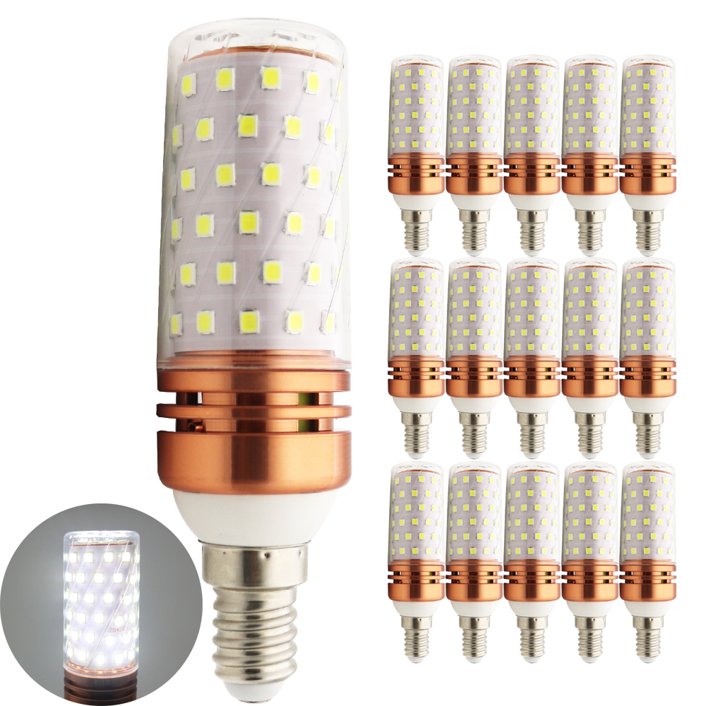 15X SMD 2835 Lampada LED Lamp E14 220V Corn Light LED Bulbs Chandelier Candle Luz 84 LEDs 10W 1000 Lumens