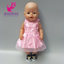 "Doll Dress for 43cm Born Baby Doll Embroidery Lace Princess Lace Dress with Underwear 18"" Doll Clothes(China)"