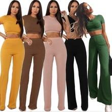 Women knitted long sleeve o-neck crop top wide leg pants 2 piece set