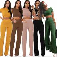 Women knitted long sleeve o-neck crop top wide leg pants 2 piece set for female women tops pants two pieces sets women's suits