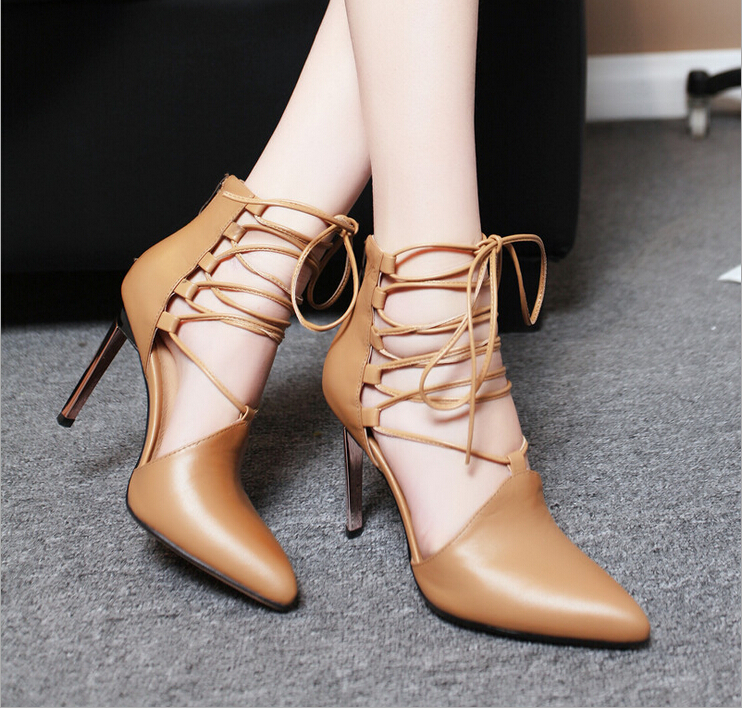 ФОТО New women shoes high heel lace-up sandals high heels pointed head layer of leather ladies sandals 9cm women pumps