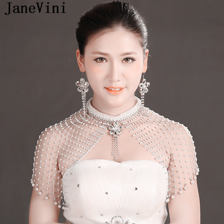 JaneVini Luxury Rhinestone Crystal Handmade Bridal Shoulder Chain Necklace With Earrings Women Pearl Wedding Shoulder Jewelry a suit of chic fake pearl rhinestone oval triangle necklace and earrings for women