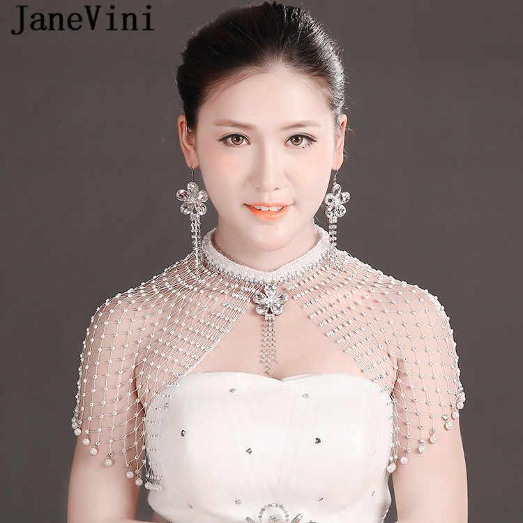Janevini luxo strass cristal artesanal nupcial ombro corrente colar feminino pérola casamento ombro jóias