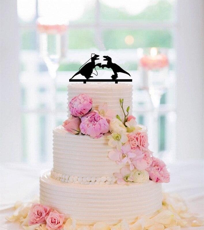 Funny Wedding Cake Topper Dinosaur Couple Bride And Groom Cake