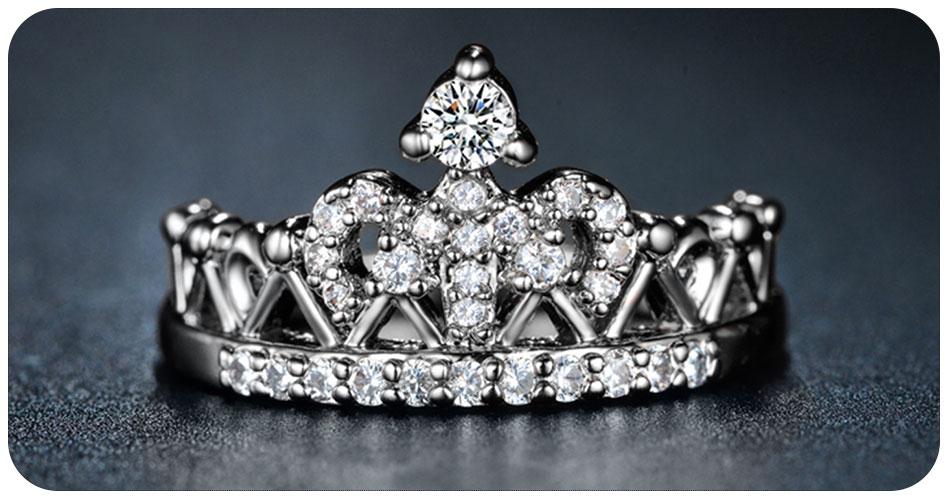 Bague couronne en plaqué argent 950/1000