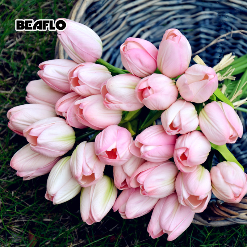 1PC Tulips Artificial Flowers Real touch PU artificiales para decora Bouquet Tulip for Home Wedding decoration Flower B1016(China)