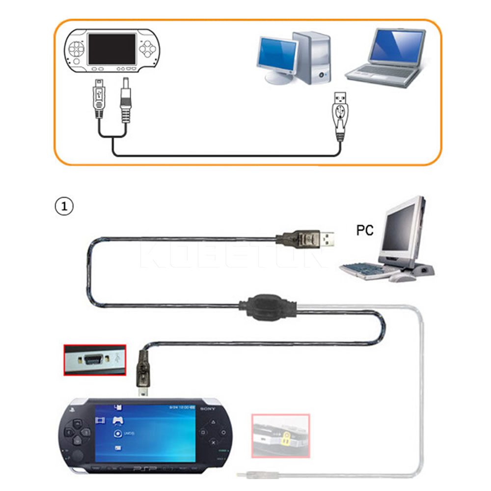 Newest 2 in 1 USB Data Cable + Charger Cable Cord For PSP 2000 3000 Gaming Accssories 4