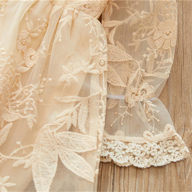 Kids Girls Lace Princess Dress Spring Fashion Toddler Girls Full Sleeve Peter Pan Collar Embroidery Party Dress Baby Dress 2 8Y in Dresses from Mother Kids