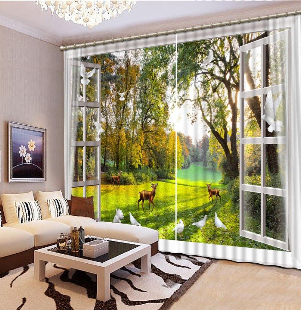 3D стереоскопические шторы, высокое качество, Затемненные 3d шторы, голубь, солнечный олень, спальня, гостиная, фото, занавески 3d