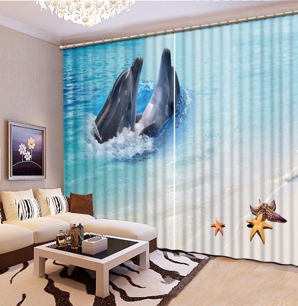 Home Bedroom Decoration Fashion Customized 3D Curtain Starfish Dolphin Curtains For Bedroom Blackout Shade Window Curtains