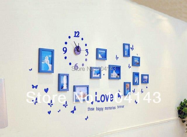 SM 10C W/1 11 Stücke Schöne Uhr Modell Blaue Farbe Holz Kreative
