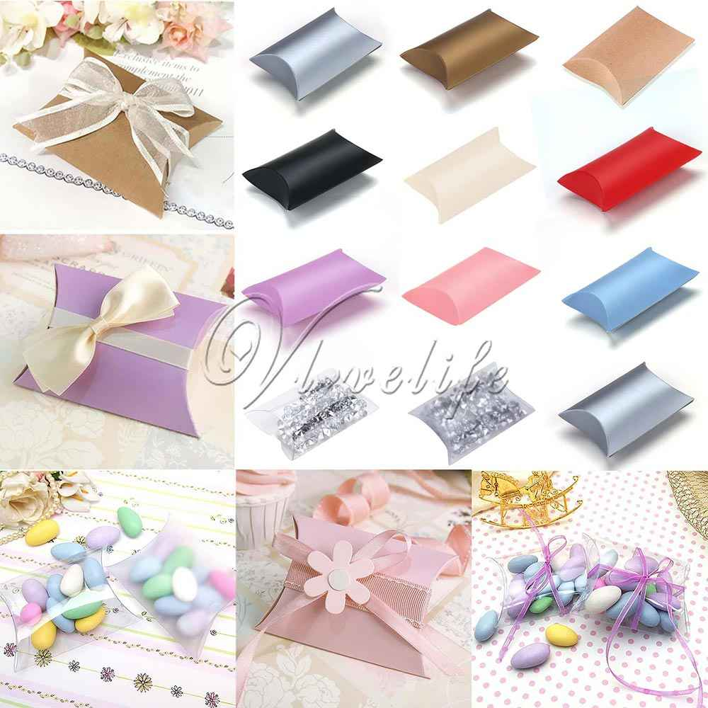 50pcs/lot New Style Pillow Shape Box Candy Box Gift Box for Wedding Party Favor Decor Paperboard / PVC /Brown Kraft  Wholesales