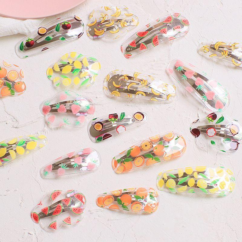 New Kids Hair Accessories Fruit Transparent Waterdrop BB Clip  Hairpins Children Girls Cute Cartoon Hair Clips