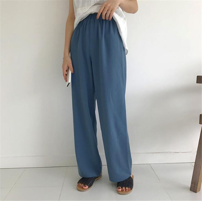 MLCRIYG 2018 new summer high waist and vertical feel Chiffon woman loose straight tube restore ancient times Pants