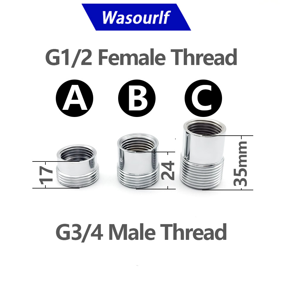 WASOURLF Adapter G 1/2 3/4 Mm Male Thread Transfer Connector 26mm 20mm Shower Bathroom Kitchen Brass Material Faucet Accessories