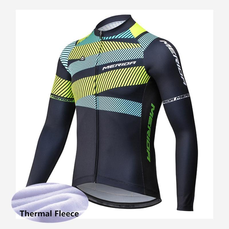цена на 2018 MERIDA mtb Bicycle Shirt winter thermal fleece cycling jersey bike long sleeve tops cycling clothing ropa ciclismo G1610