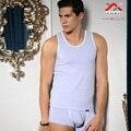 XUBA Nuevos hombres de algodón de moda de verano delgado undershirt tank top y bragas raya elástico vesseled chaleco conjunto