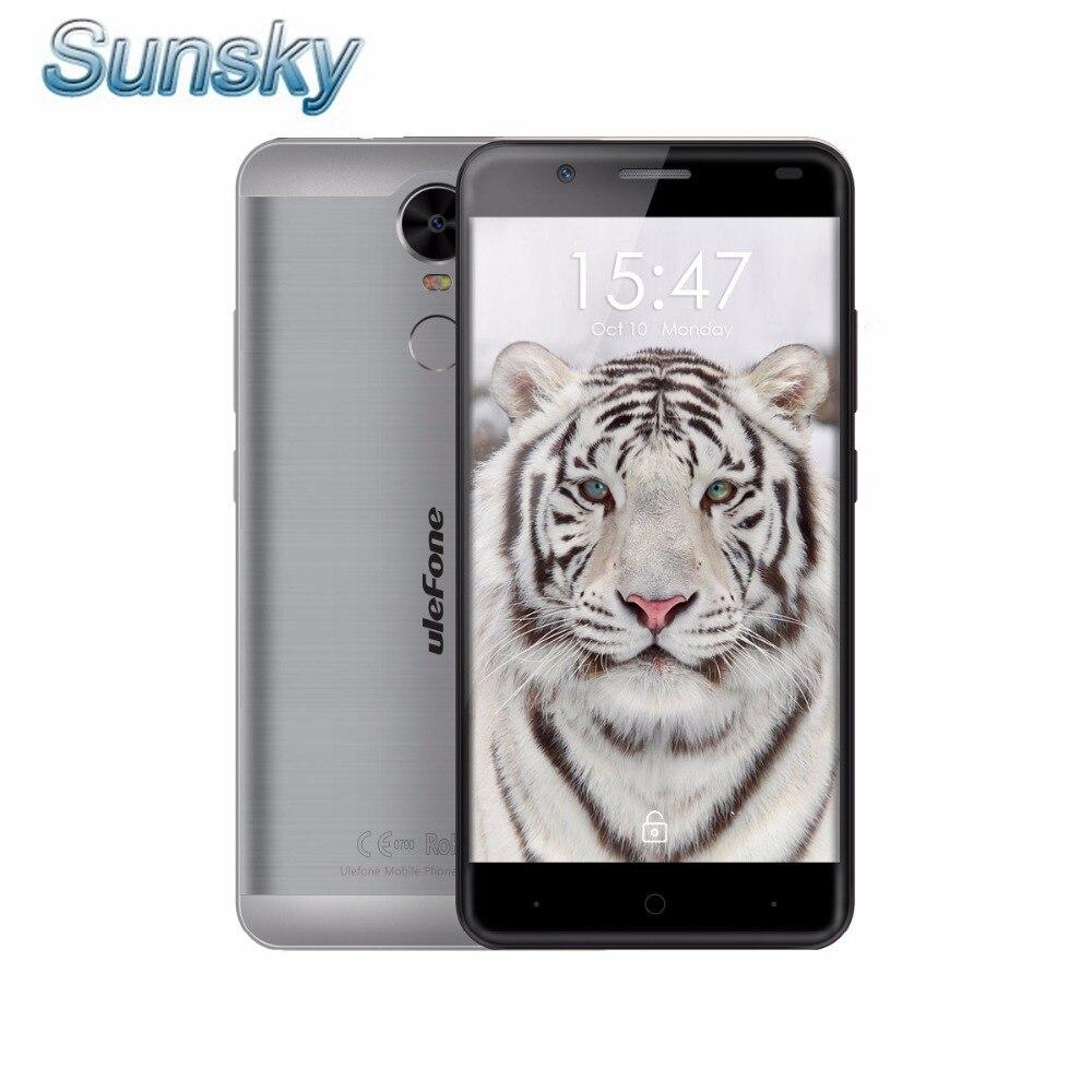 Цена за Оригинал ulefone mtk6737 тигр смартфон quad core android 6.0 мобильный телефон 5.5 дюймов 2 г ram 16 г rom отпечатков пальцев 4 г lte мобильный телефон