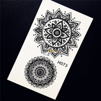 1PC Beauty Waterproof Arm Neck Decals Temporary Tattoo Black Sun Flower Design Women Henna Lace Tattoo Stickers For Women HH073