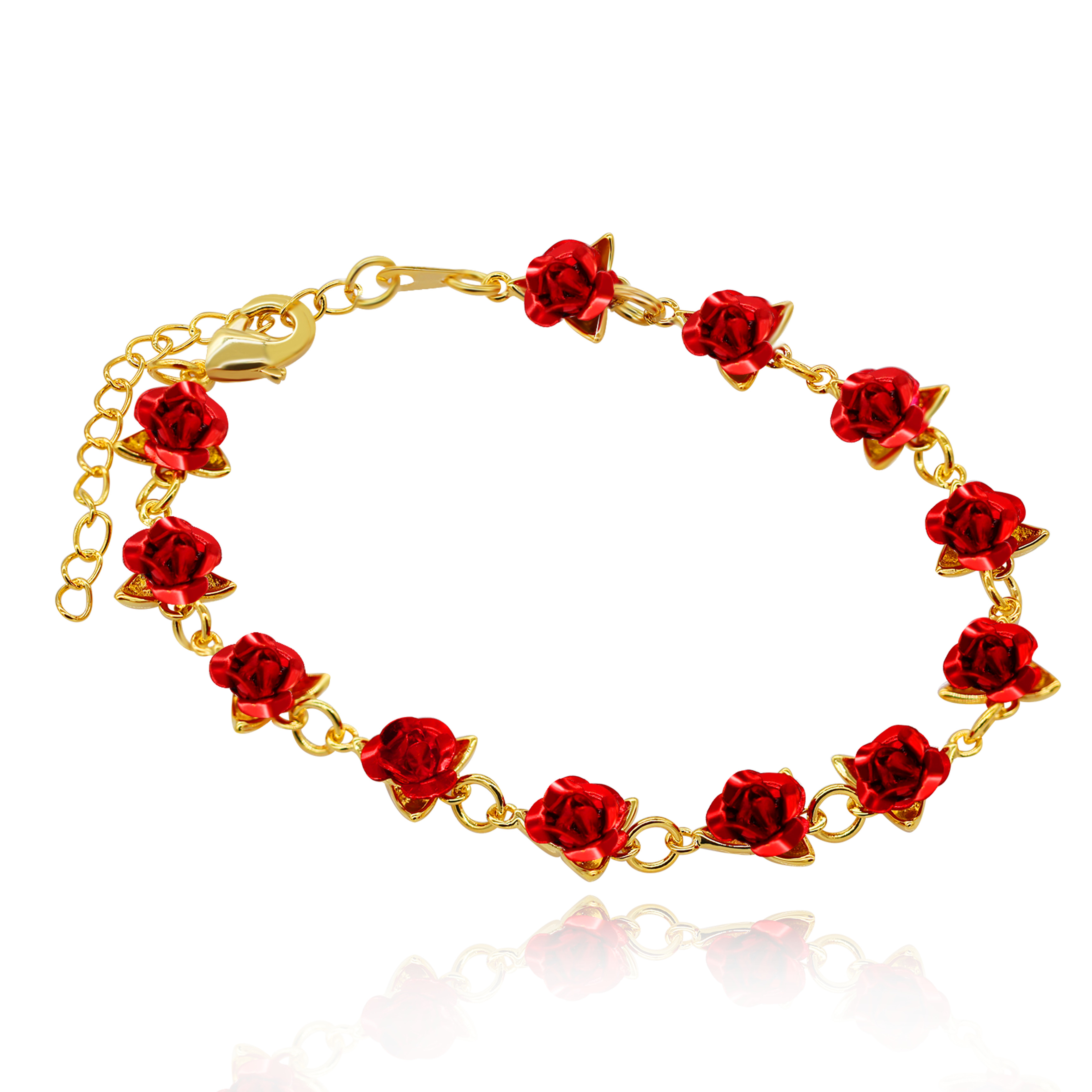 Uloveido Cute Red Rose Flower Charm Bracelet for Women Girls 18K Gold Plated Nature Jewelry, Dozen Roses Bracelets Y452 5% off