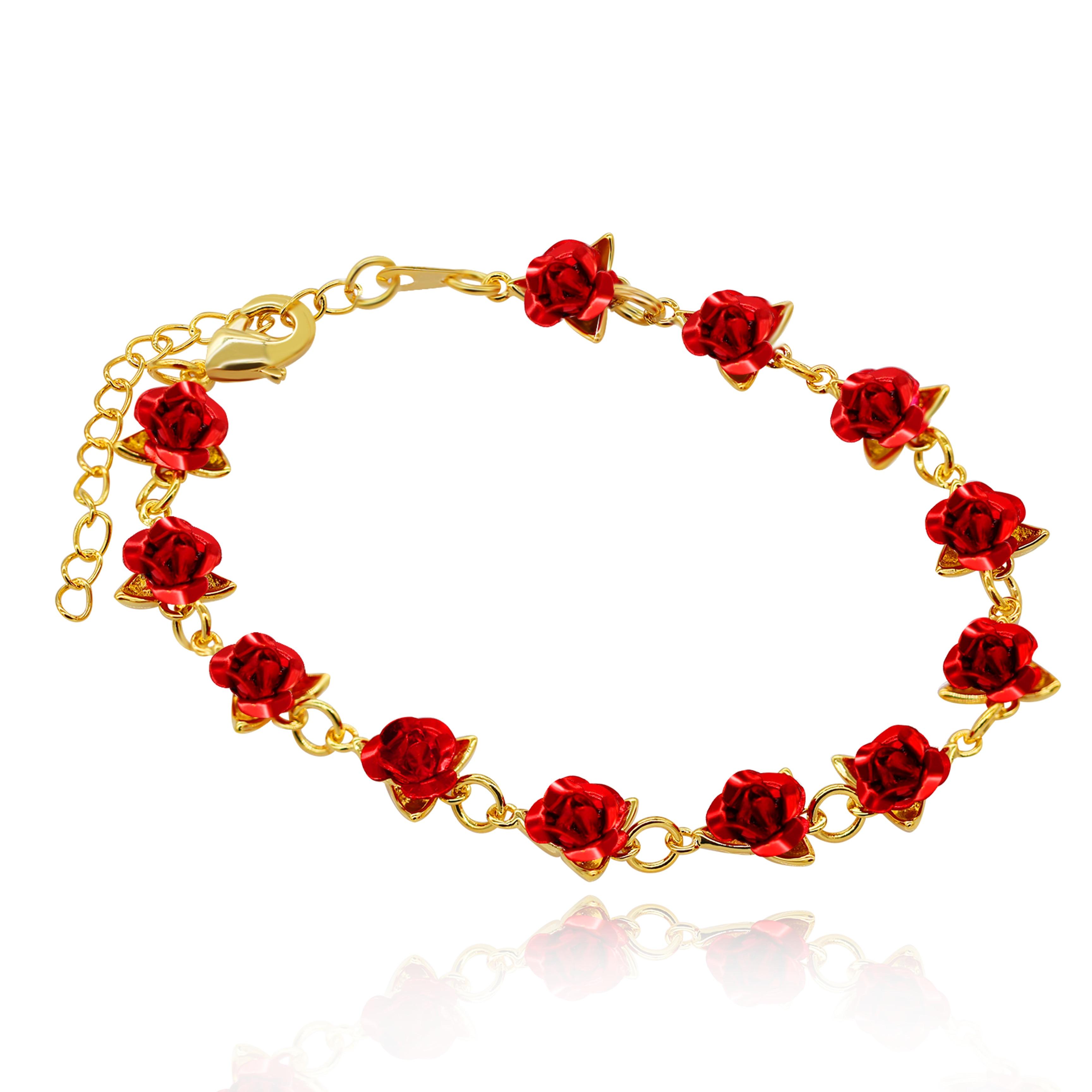 Uloveido Cute Red Rose Flower Charm Bracelet for Women Girls 18K Gold Plated Nature Jewelry, Dozen Roses Bracelets Y452 5% off|Chain & Link Bracelets|   - AliExpress