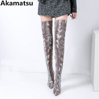 Akamatsu brand luxury bota feminina python skin crotch leather thigh high heel long booties pointed toe overknee boots woman
