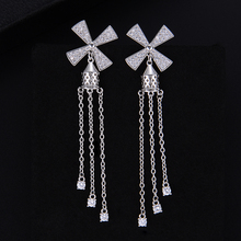 SisCathy Trendy Long Chain Party Wedding Earrings Luxury Rhinestone Cubic Zirconia Flower for Women Fashion Jewelry