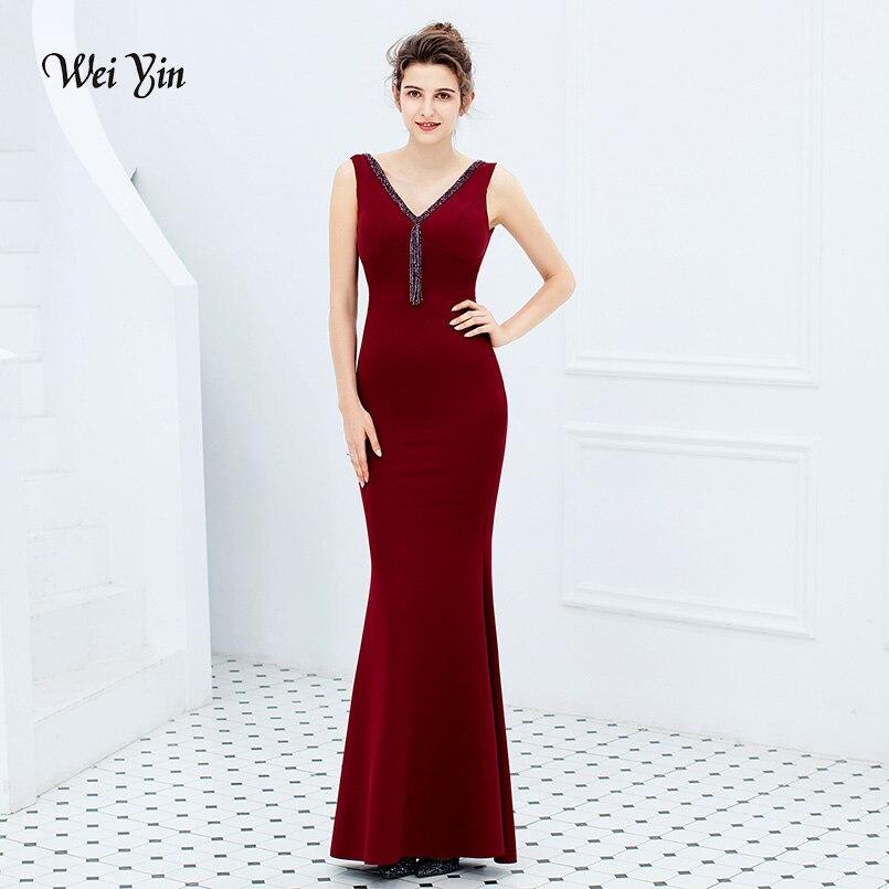 2019 nouveau noir rose vert robes De soirée formelles longues femmes élégant bourgogne col en V Robe De soirée Robe De soirée WY1784