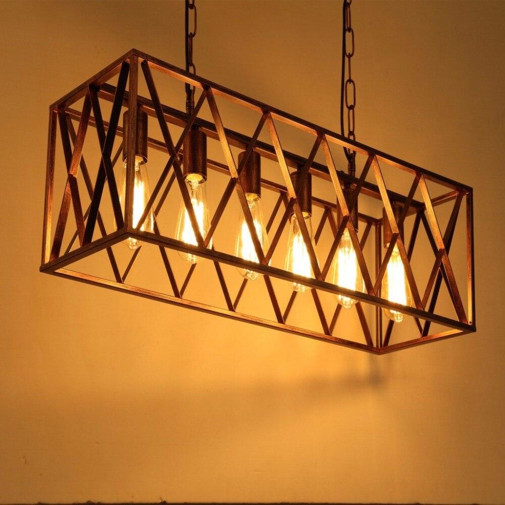 6 Heads Metal lampshade Retro Loft Vintage Pendant Lamp Dinning Room Restaurant Light Edison Bulb Lamp Home Decoration WPL197