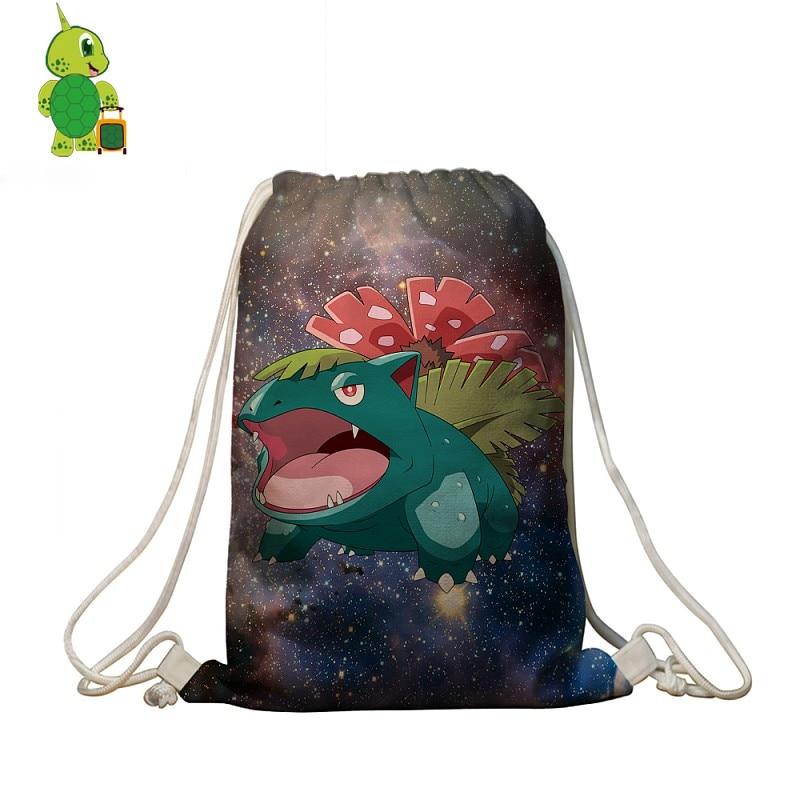 Pokemon Venusaur Galaxy Space Drawstring Bag Women Men Softback Travel Bags  Boys Girls School Bags Storage Shopping Bag