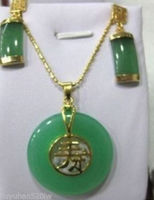 Naturalne Szczęście Stylowa Biżuteria Ustaw zielony klejnot naszyjnik kolczyk Dzieła Plated szeroki zegarek Dla Nowożeńców skrzydła królowa
