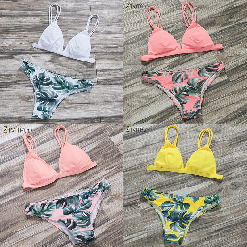 ZTVitality 2018 Sexy Swimwear Women Bikini Set Print Leaves Push-Up Padded Swimsuit Low Waist Bathing Beachwear Biquini Swimsuit