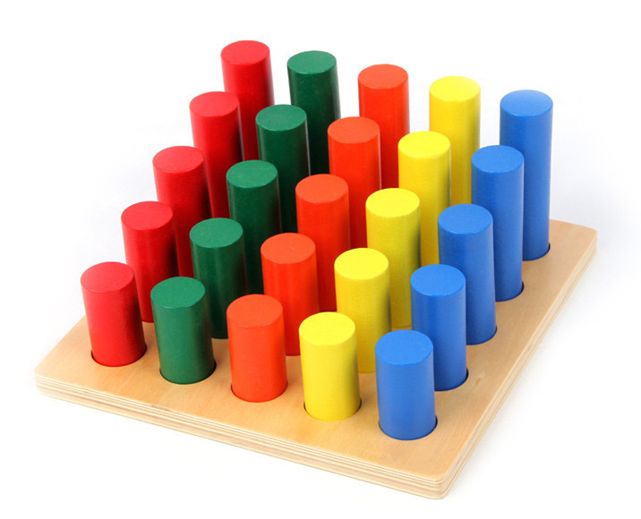 Baby Toys Montessori Cylinder Ladder Educational Wooden Toys Blocks Early Learning 2017 montessori education baby wood knocking ball ladder pound and roll tower kids puzzle early educational wooden toys set mz23