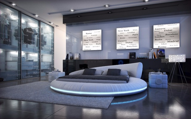 Control remoto LED contemporáneo moderno muebles de dormitorio King Size cama redonda de cuero Hecho en China