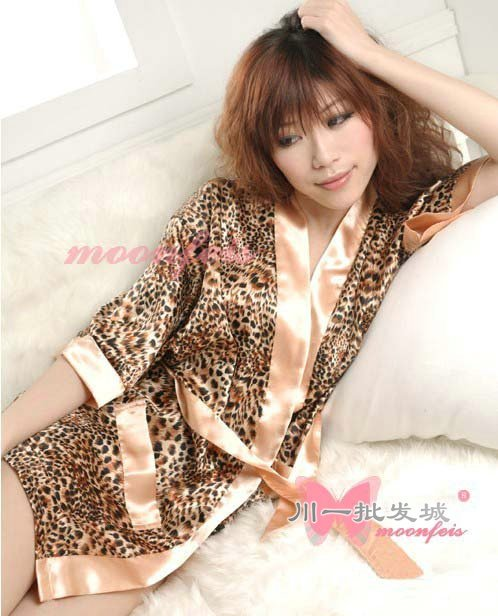 Free Shipping Leopard print silk robe sexy bathrobe women summer sexy  lingerie Satin sleepwear female dressing gown 2541304d5