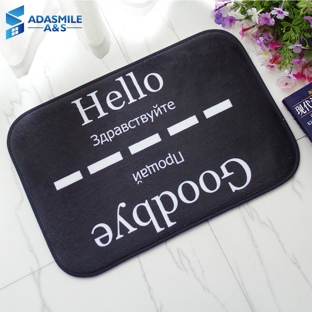 40x60cm Flannel Absorbent Outdoor Entrance Indoor Rugs Mats English Russia Languages Anti-slip Kitchen Carpets Floor Mat Black