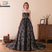 New Arrival Strapless Silver Black English France Lace Ball Gowns Empire Wedding Dress Bridal Dress Vestido