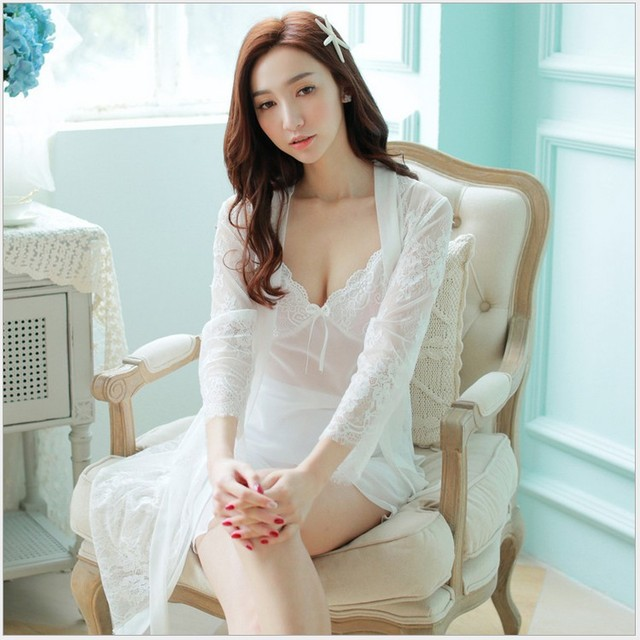 two pieces of spring and autumn sexy nightgown princess lace temptation sling covered clothing brand + Home Furnishing