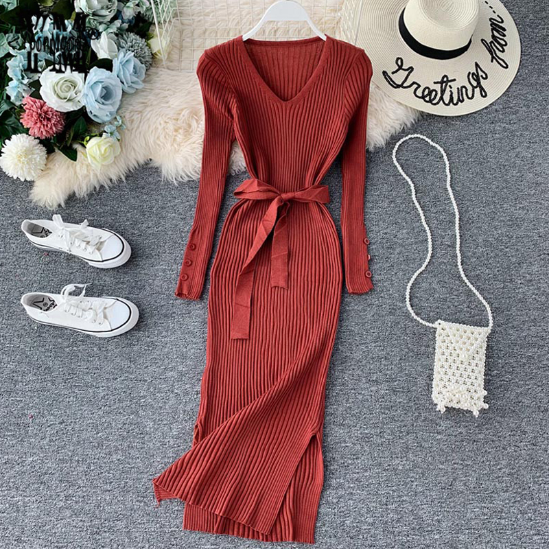 YornMona Elegant V Neck Split Midi Dress 2019 Autumn Winter Women Knitted Sweater Dress Button Long Sleeve Sashes Bodycon DressDresses   -