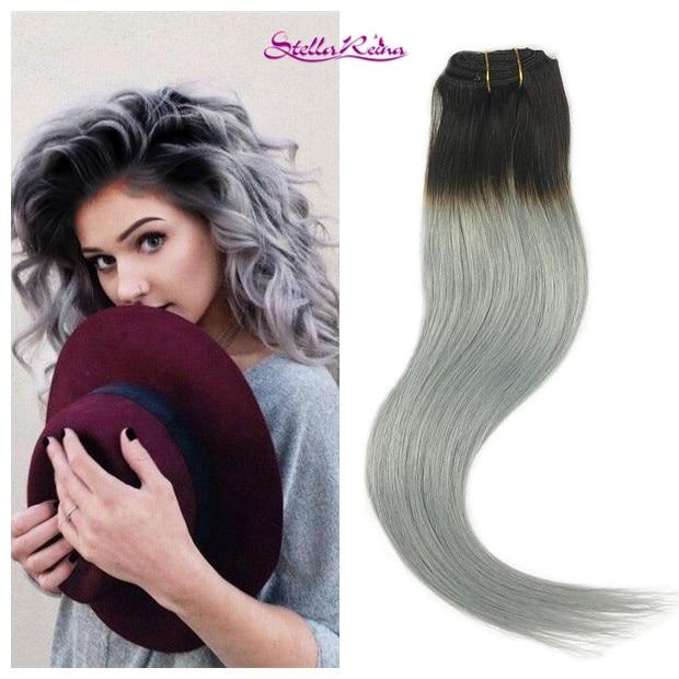 Stella Reina 8a Dip Dye Ombre Dark Roots Silver Grey Tape In