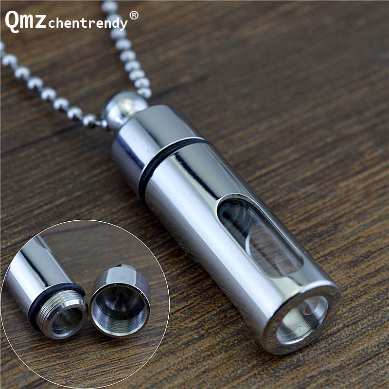 New Fashion Titanium Storage Botol Parfum Botol Kalung Kaca Silinder Tube Ashes Urn Lover Cremation Keepsake Jewelry