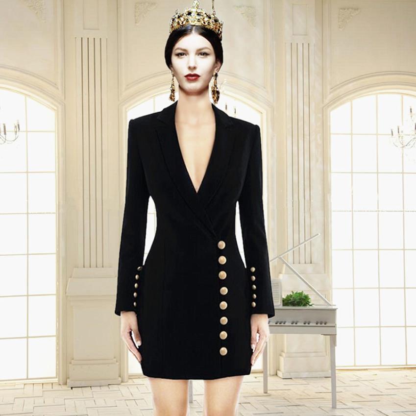 Marque de mode boutons en métal lourd perles robe femme col en v sexy était mince français boutons dorés niche taille robe wq2292