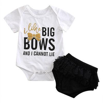 fccdf784f I Like Big Bows Letter Newborn Infant Baby Girls Tops Romper+Short ...