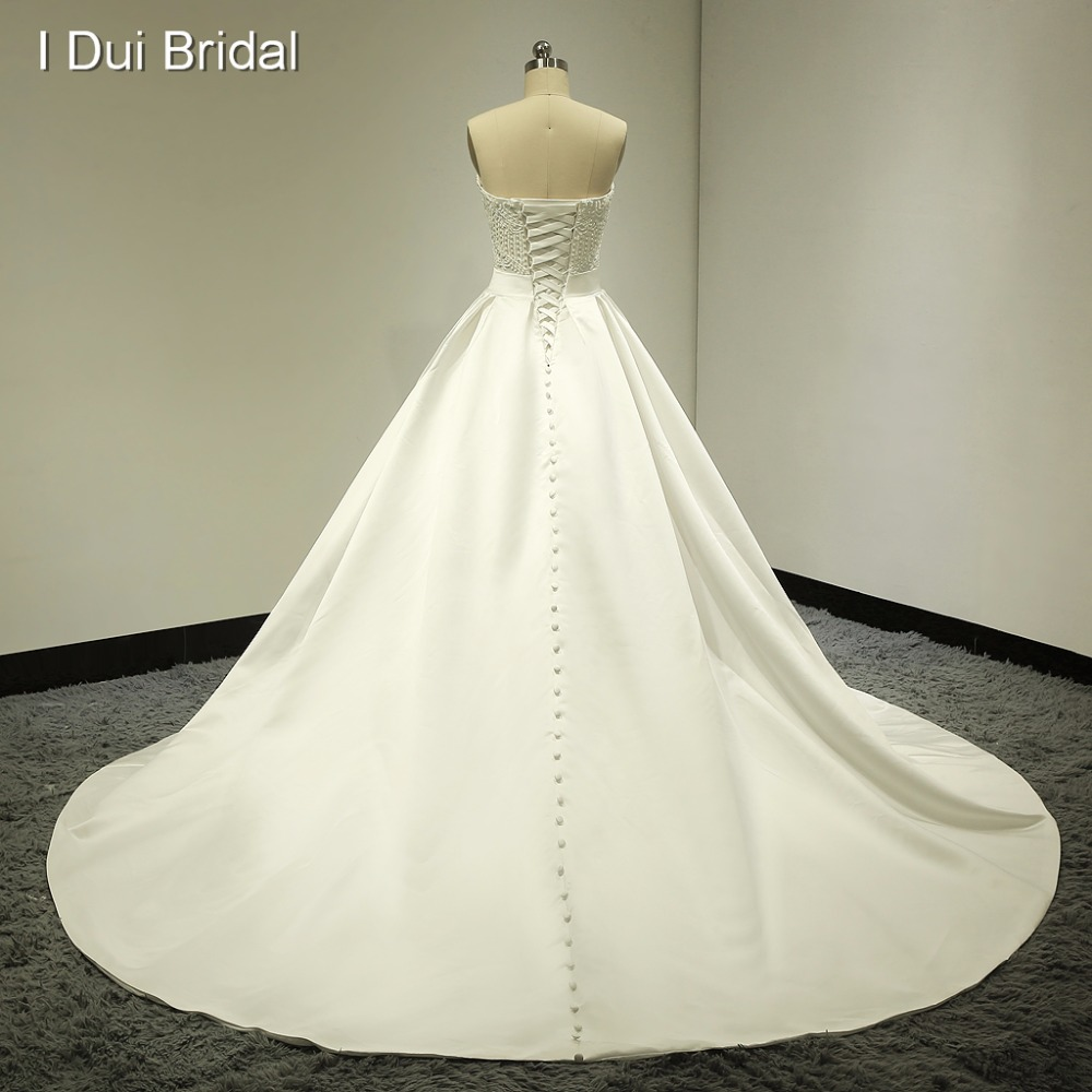 Beaded Strapless Real Wedding Dresses Satin Ball Gown Chapel Train ...