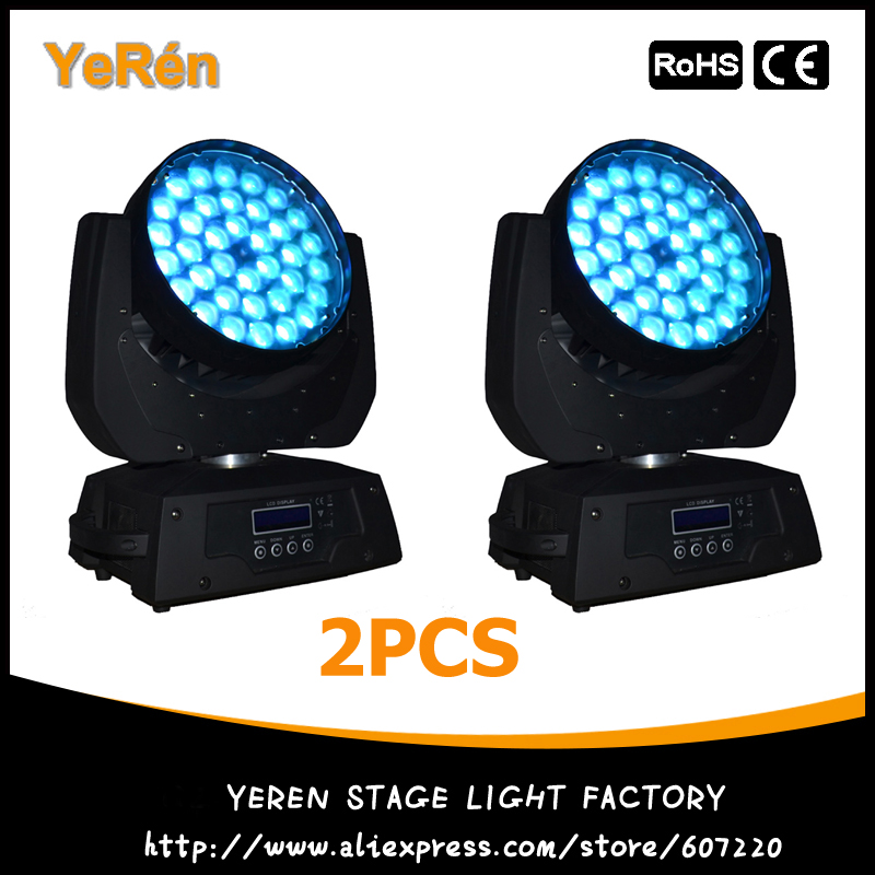 2PCS Pro Stage Light 36x10W RGBW LED Moving Head Zoom Wash Light 4in1 Quad Color