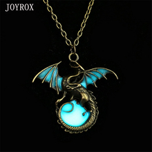 JOYROX 2017 Hot Charm Punk Luminous Fly Dragon Pendants Necklaces Amulet Vintage Silver Gold Color  Boys And Girls Chain Gift