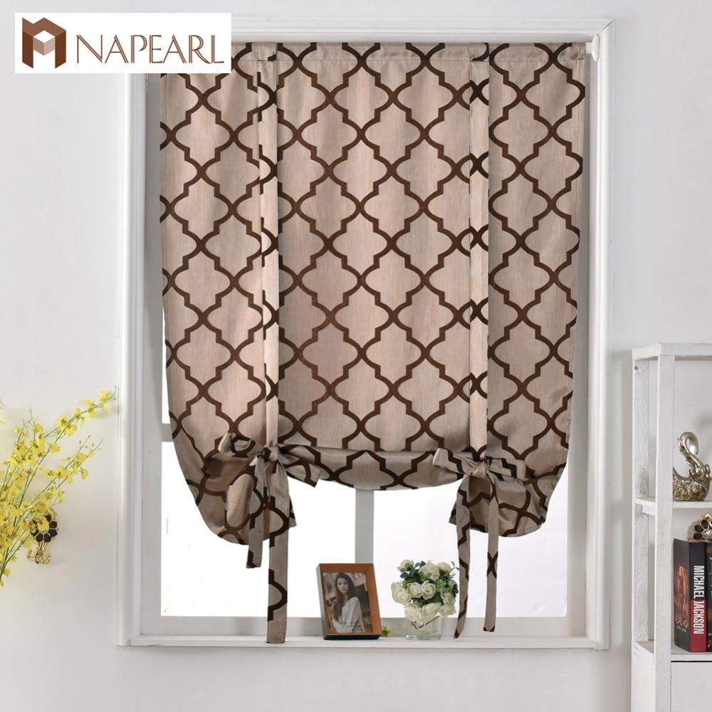 Geometric Design Jacquard Short Curtains Kitchen Roman