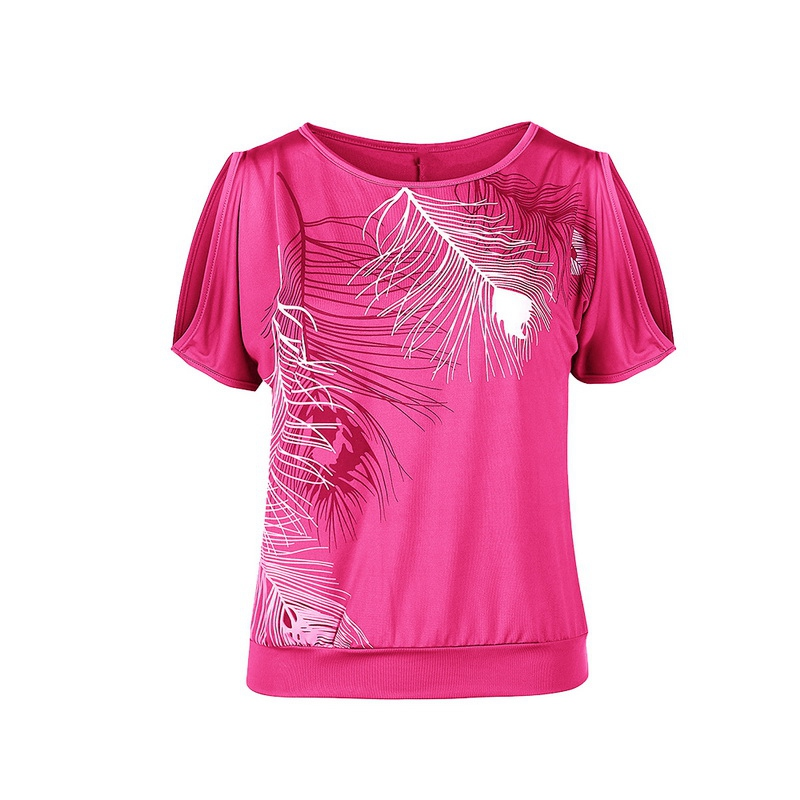 T-shirts Tops & Tees The Best Loozykit 5xl Plus Size Women Casual Summer T-shirt 2018 Short Sleeve Cold Shoulder Feather Print Tops Tee Shirt Female Camisetas