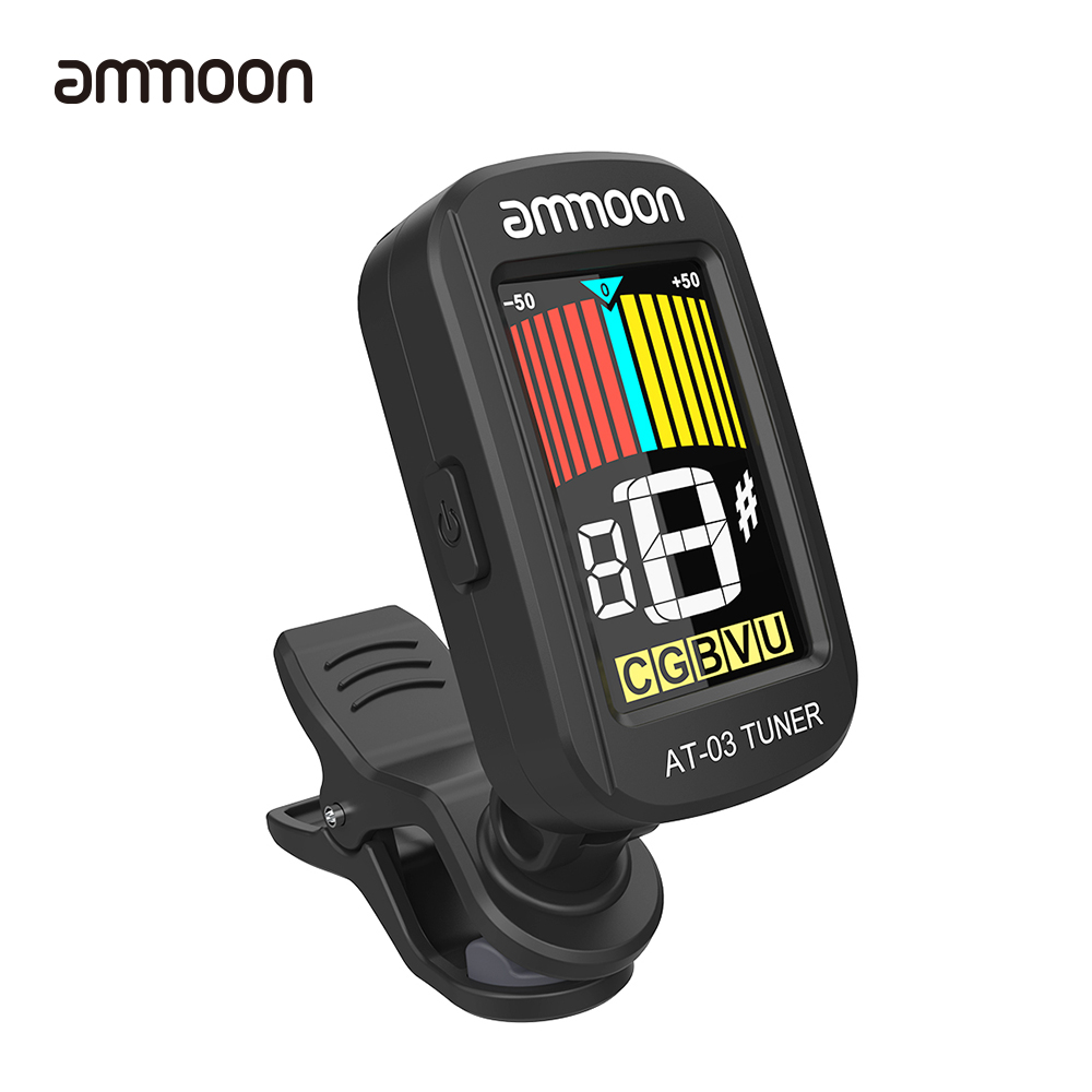 ammoon at 03 clip on electric guitar tuner color lcd screen 360 rotatable for guitar bass violin. Black Bedroom Furniture Sets. Home Design Ideas